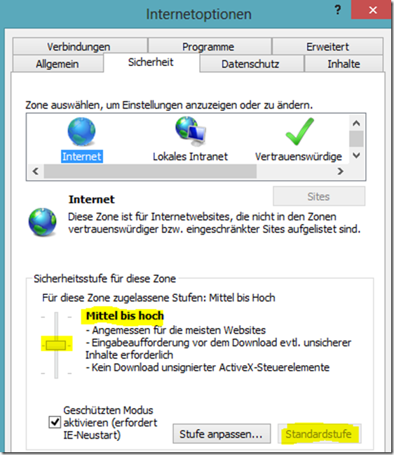 einstellungen internet explorer